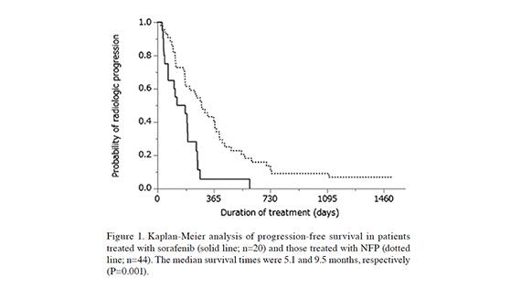 肝動注化学療法のグラフ